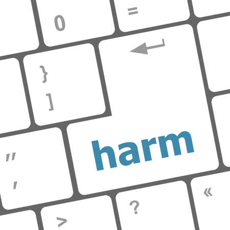 harm: harm word on computer pc keyboard key Stock Photo