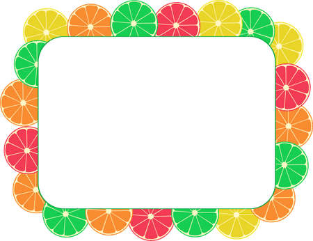 apple border: Blank paper card with desert fruits