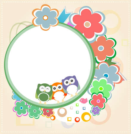 Natural owl card with flowers photo