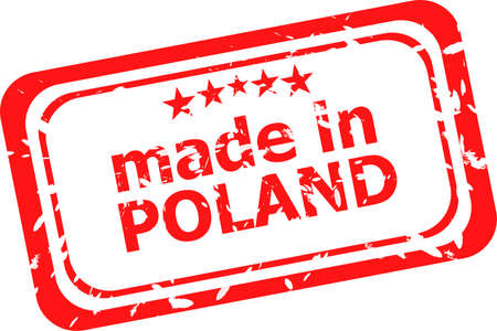 Red rubber stamp of made in poland photo