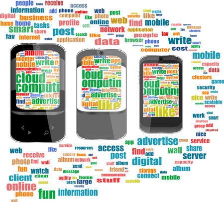 Touchscreen smart phone with social word cloud isolated on white background photo