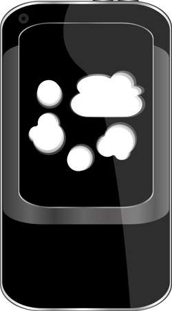 Cloud computing concept. Mobile smart phone with cloud icon photo