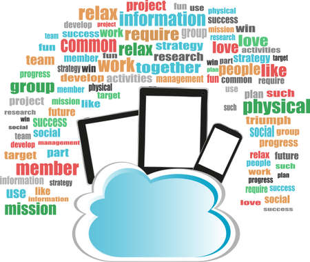 Cloud storage concept in word business collage with tablet pc photo