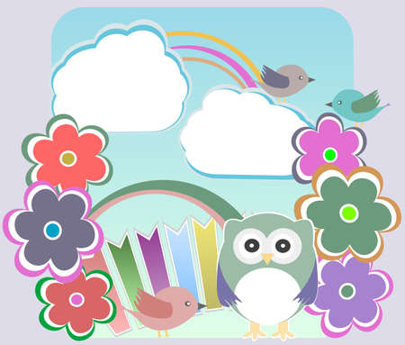 Background with owl, flowers birds and clouds photo