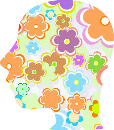 silhouette of a woman head filled with cute vector flowers photo
