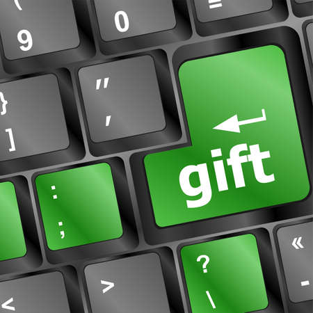 Computer keyboard with gift key - holiday background Stock Photo - 19788417