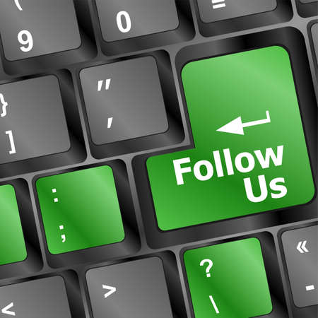 Social media or social network concept: Keyboard with Follow Us button Stock Photo - 19788422