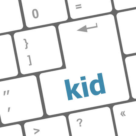 kid word button on keyboard key photo