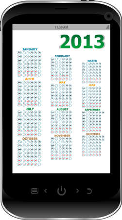 black smart phone on white background with calendar 2013 photo