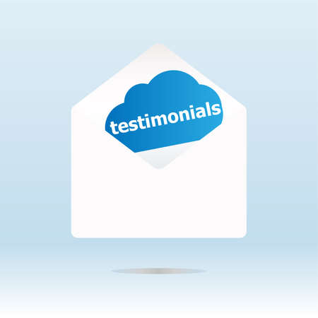 testimonial word on blue cloud, mail envelope Stock Photo