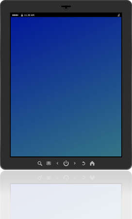 Photo-realistic vertical tablet pc set with blue screen Stock Photo - 19788500