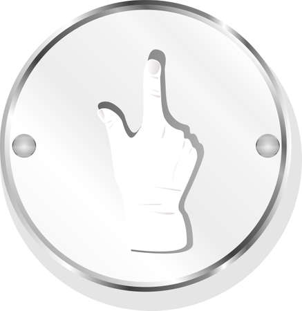 metallic button with a human hand Stock Photo - 19788503
