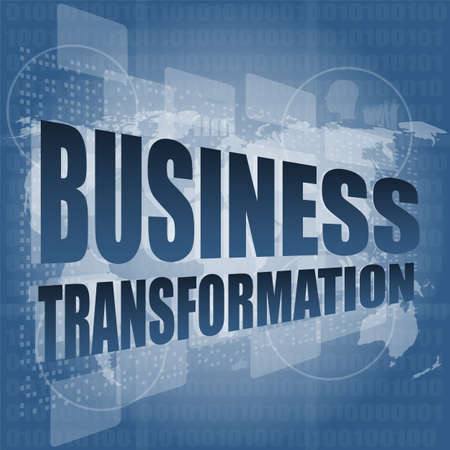 business transformation words on touch screen interface Standard-Bild