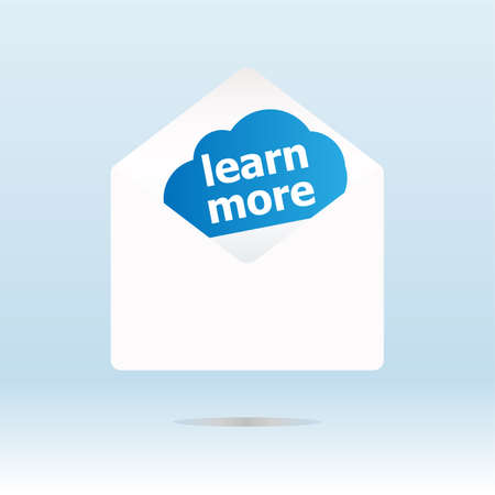 learn more word on blue cloud, mail envelope photo