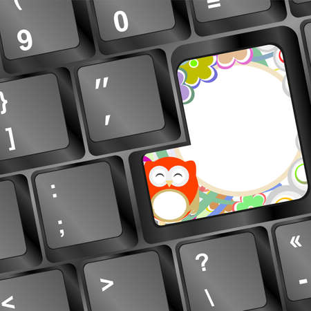 owl and flowers on computer keyboard key photo