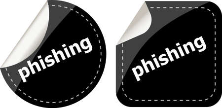 phishing word with lock on black stickers set photo