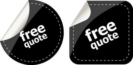 Free quote glossy black reflected round button set Stock Photo - 19788521