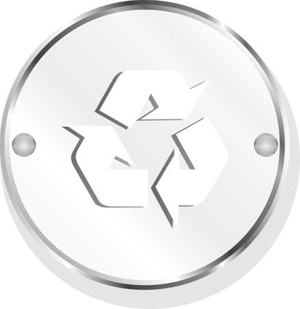 recycle symbol on metal button icon photo