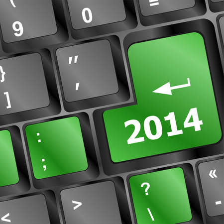 two thousand and fourteen: 2014 Key On Keyboard Representing Year Two Thousand Fourteen