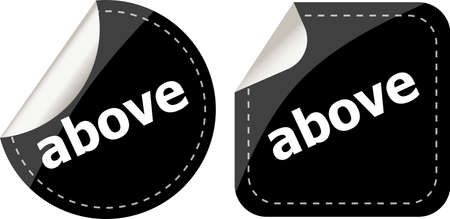 adept: above word black stickers set icon button