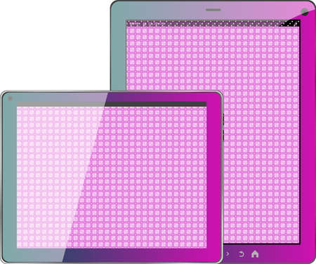 Realistic concept of tablet pc pink textile blank screen photo