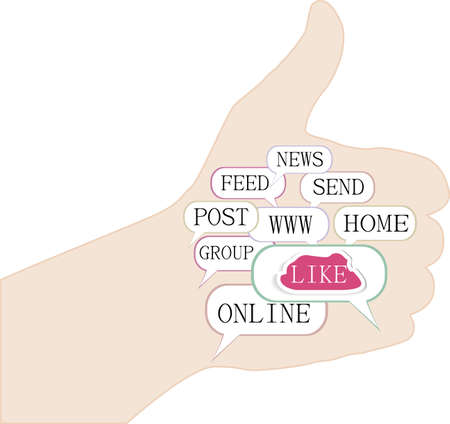 Like hand with social words Stock Photo - 20005678