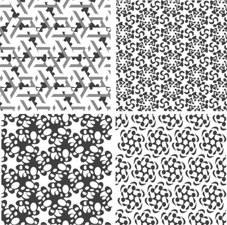 Geometric seamless patterns set, black and white. backgrounds collection Stock Photo - 20007377