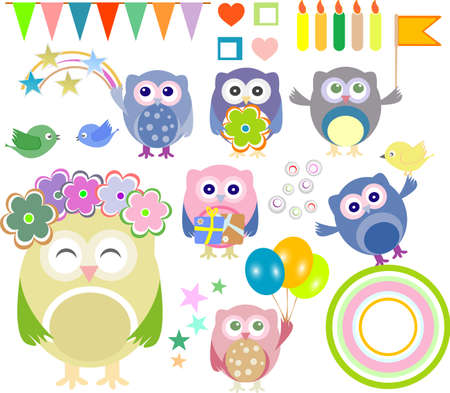 Set of birthday party elements with cute owls photo