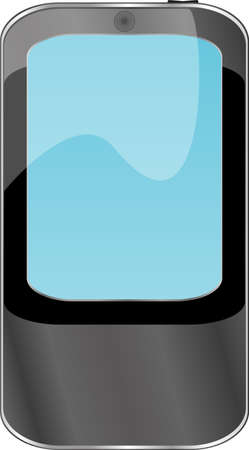 Black smartphone with blue display isolated on white background Stock Photo - 20005597