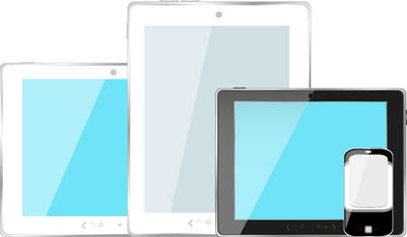 Modern digital tablet PC with mobile smartphone isolated on white photo