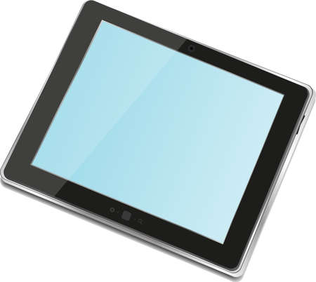 High-detailed black tablet pc on white background photo