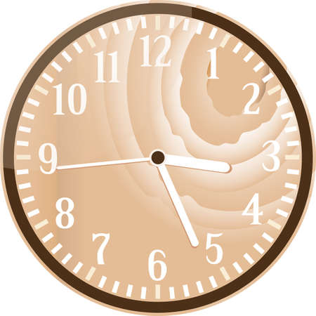 Wall retro wood clock isolated on white photo