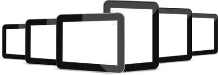 Black tablets set on white background photo