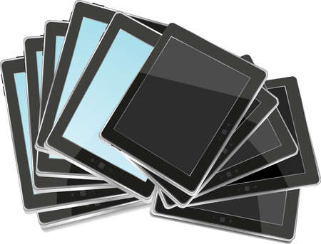 Black abstract tablet pc set on white background Stock Photo - 20002601