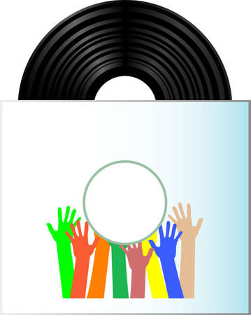 Vinyl record disk in box on white background with many hands photo