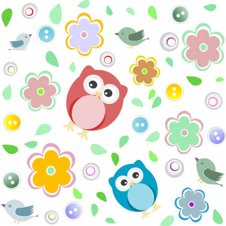 Seamless colourful owl pattern for kids background photo