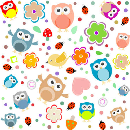 Bright background with owls, leafs, mushrooms and flowers. Seamless pattern Standard-Bild