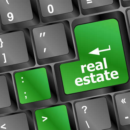 real estate computer key showing internet concept photo
