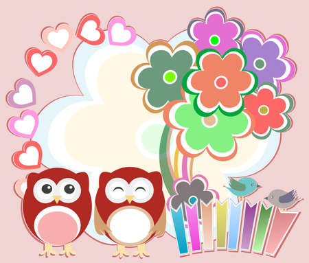 Background with cute owls, heart, flower and birds photo