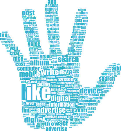 Lke hand symbol with tag cloud of word Stock Photo - 20542819