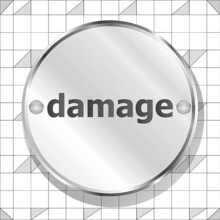 damage word on metallic button photo