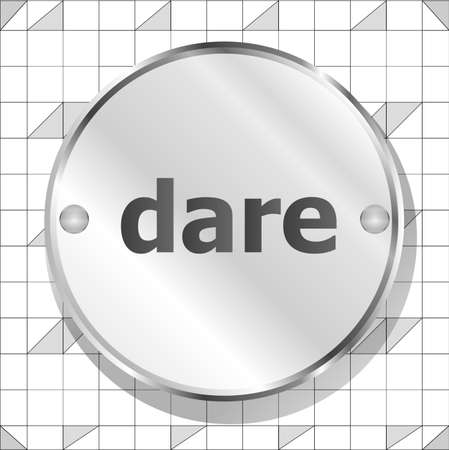 dare: dare word on metallic button