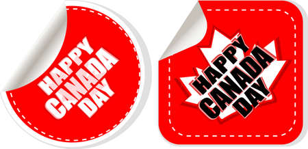 canada day: Maple leaf stickers - happy canada day tag set Stock Photo
