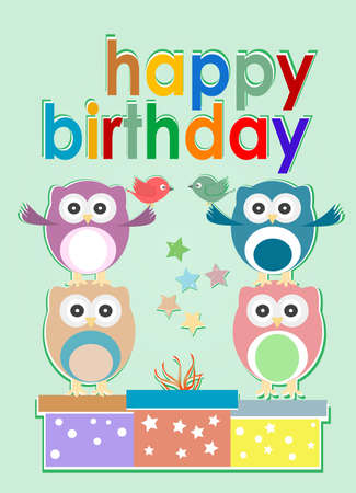 card with cute owl, birds and gift boxes - happy birthday photo