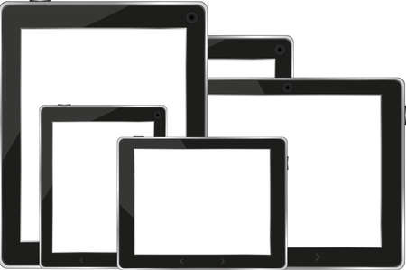 input device: Set of digital tablets with blank screen isolated on white