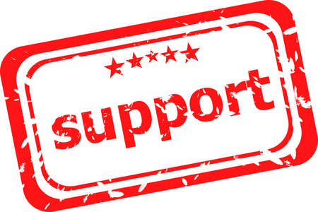 surety: support on red rubber stamp over a white background Stock Photo