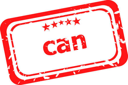 can on red rubber stamp over a white background photo