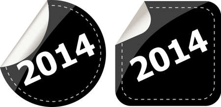 2014 on black stickers button set, business label photo