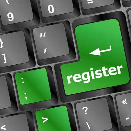 user name: Closeup of register key in a modern keyboard