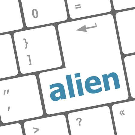 hijack: alien on computer keyboard key enter button